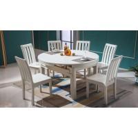672#全橡木餐桌 米白色